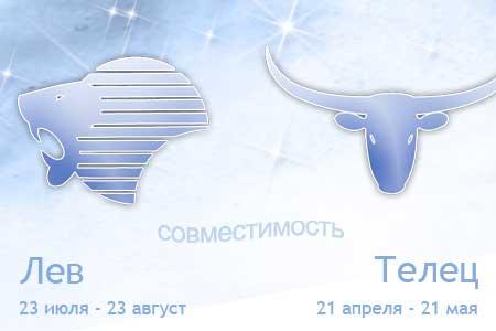 Совместимость знаков зодиака Телец и Лев
