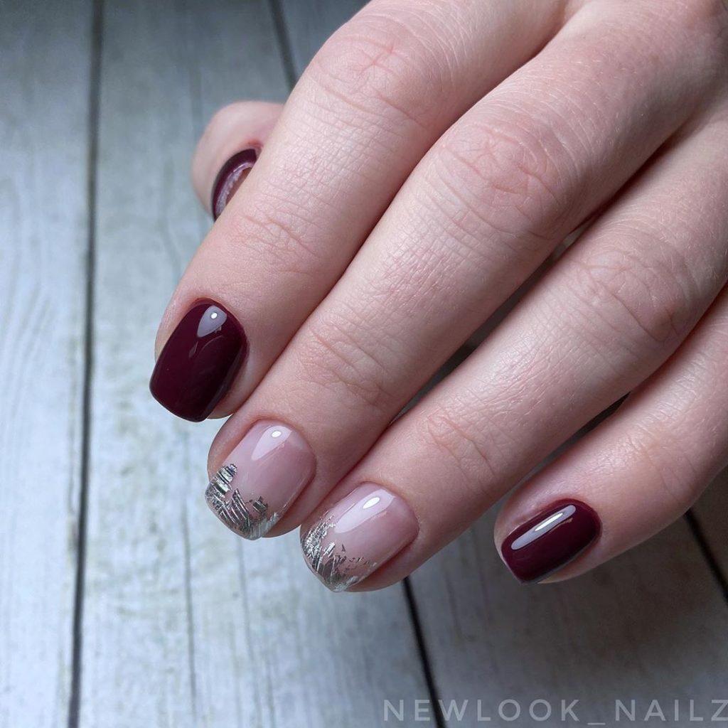 Ногти бордовый маникюр