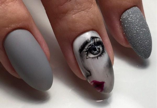 Ногти с рисунком лицо