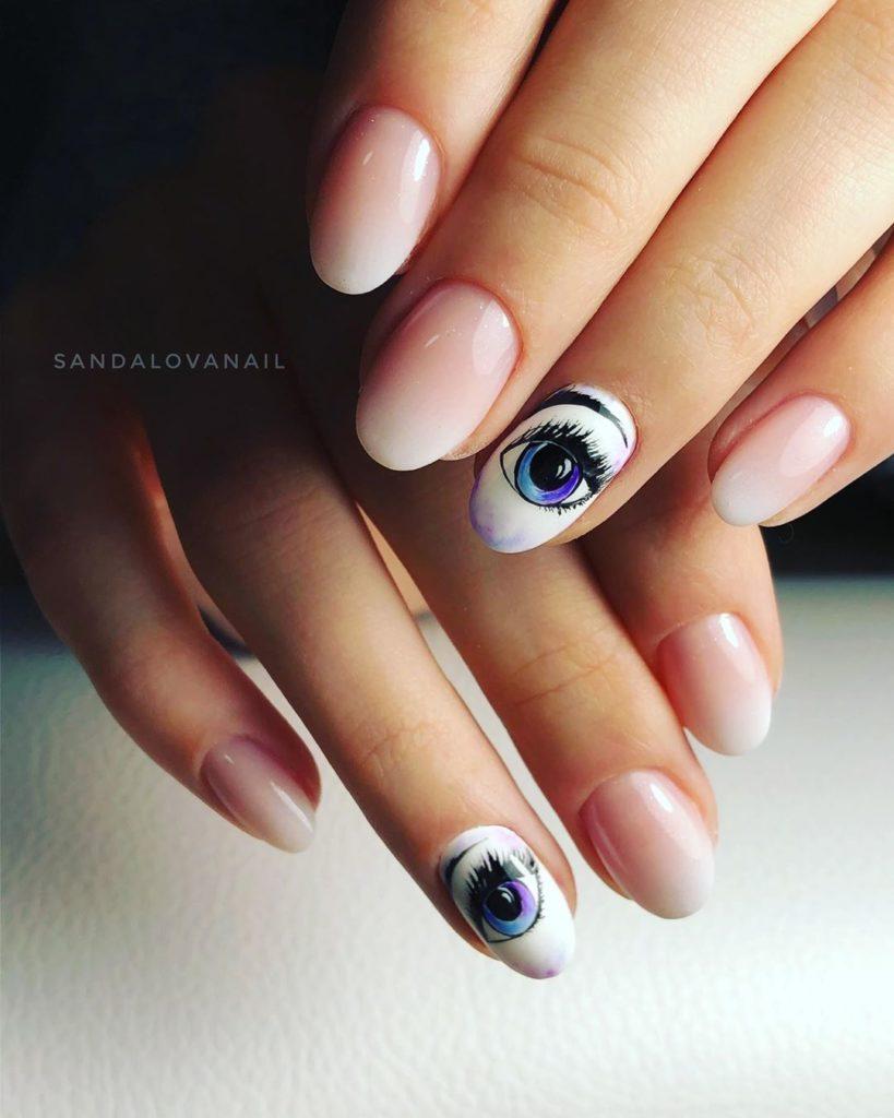 Ногти с рисунками глаз